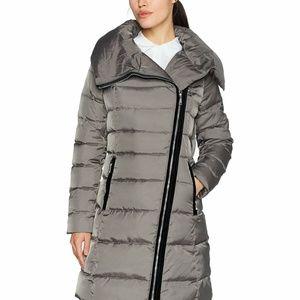 T Tahari Jackets & Coats - T Tahari Womens Velvet-Trim Asymmetrical Down Coat